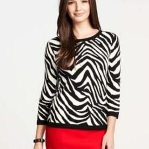Ann Taylor Zebra Print 3/4 Sleeve Sweater